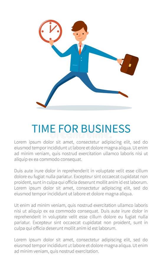 Tempo per il manifesto di affari, uomo d'affari Runs sul lavoro illustrazione di stock