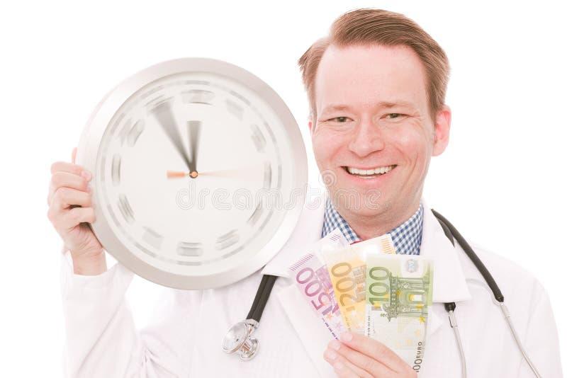 Tempo per il risparmio medico (l'orologio di filatura passa la versione) immagine stock