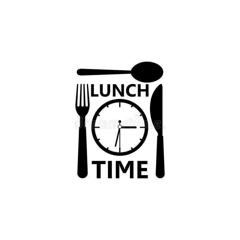 Tempo per il simbolo, il logo, l'orologio con il cucchiaio della forcella ed il coltello del pranzo royalty illustrazione gratis
