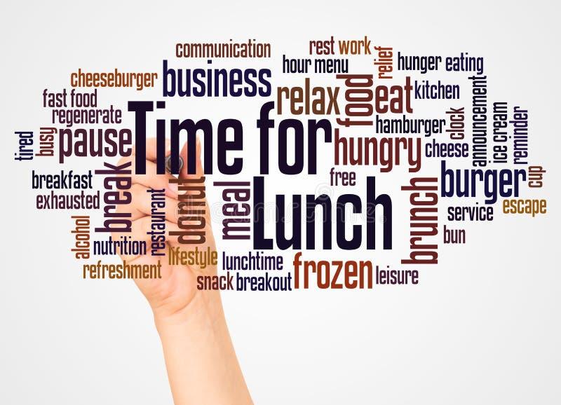 Tempo per la nuvola e la mano di parola del pranzo con il concetto dell'indicatore fotografia stock