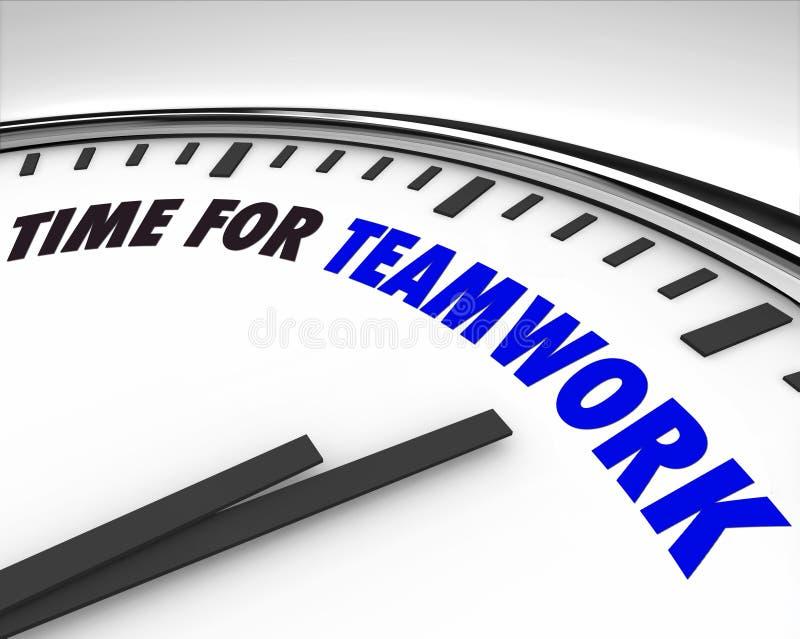 Tempo per lavoro di squadra - orologio illustrazione vettoriale