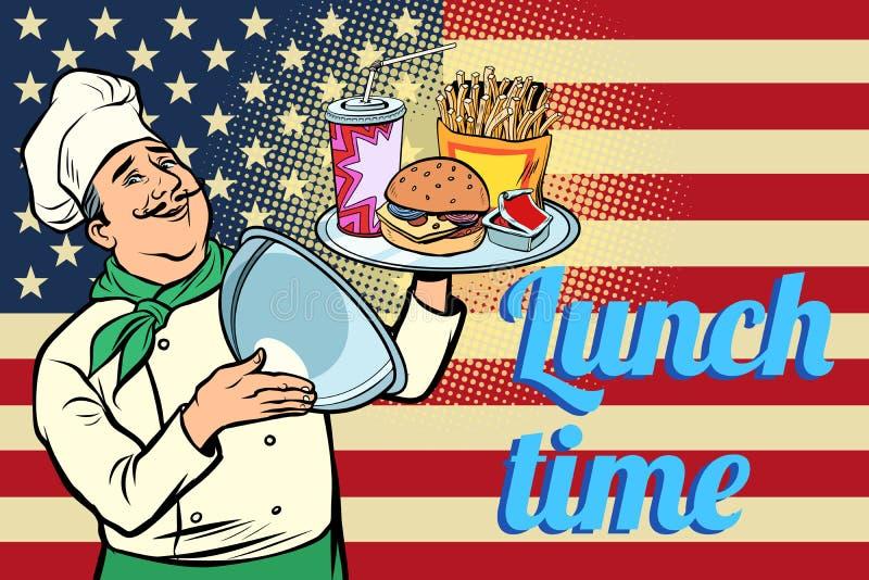 Tempo per pranzo Alimenti a rapida preparazione cuoco unico con il vassoio con la bandiera di U.S.A. del coperchio royalty illustrazione gratis