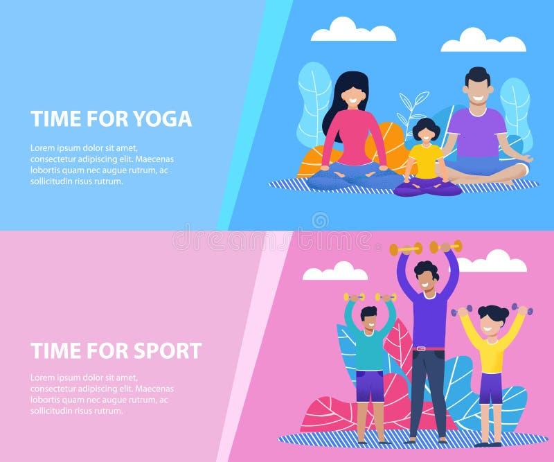 Tempo per yoga della famiglia o l'insieme piano delle insegne di sport illustrazione di stock