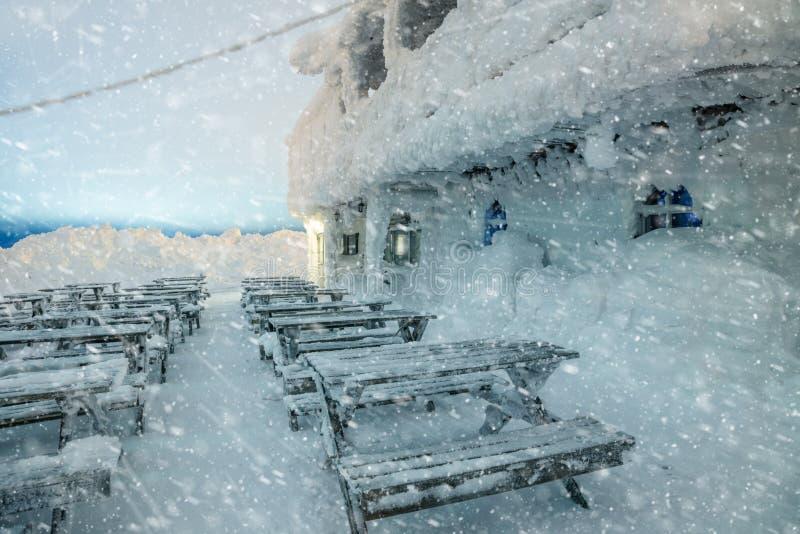 Tempo perigoso na noite - neve do inverno, blizzard, frio foto de stock royalty free