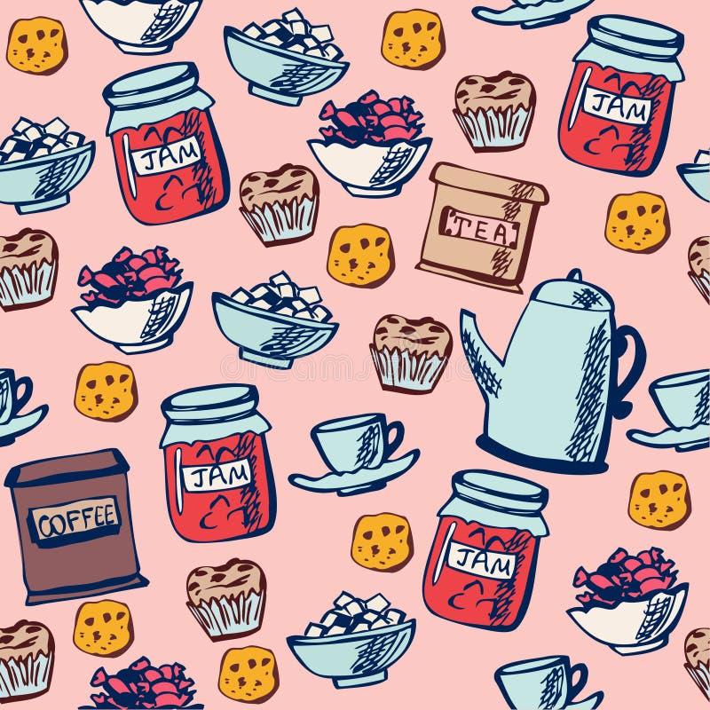 Tempo senza giunte del tè del reticolo illustrazione di stock