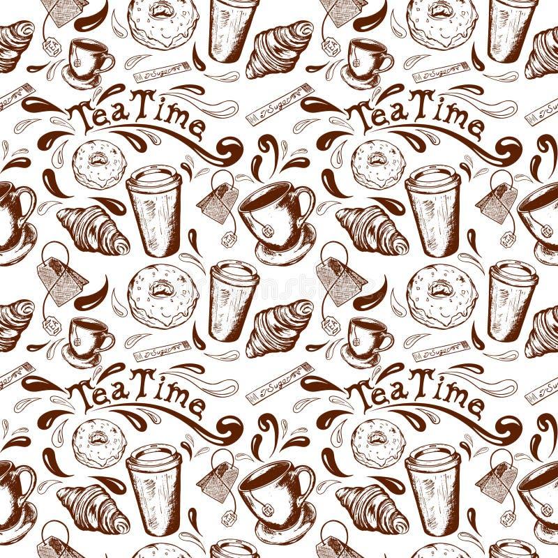Tempo senza giunte del tè del reticolo illustrazione vettoriale
