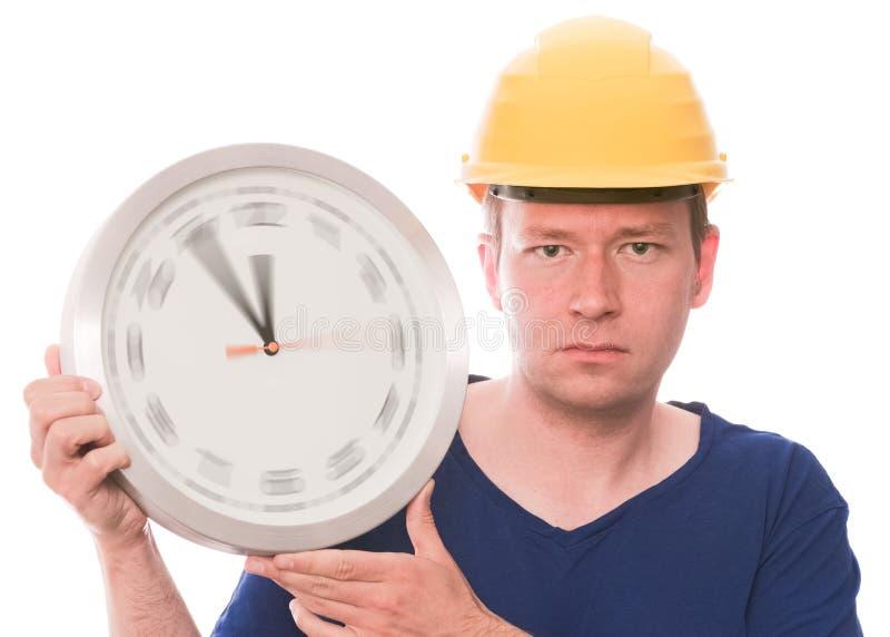 Tempo serio della costruzione (l'orologio di filatura passa la versione) immagine stock libera da diritti
