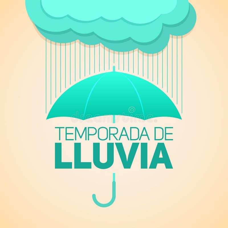 Temporada de lluvia,雨季节西班牙文本,有云彩的伞 向量例证