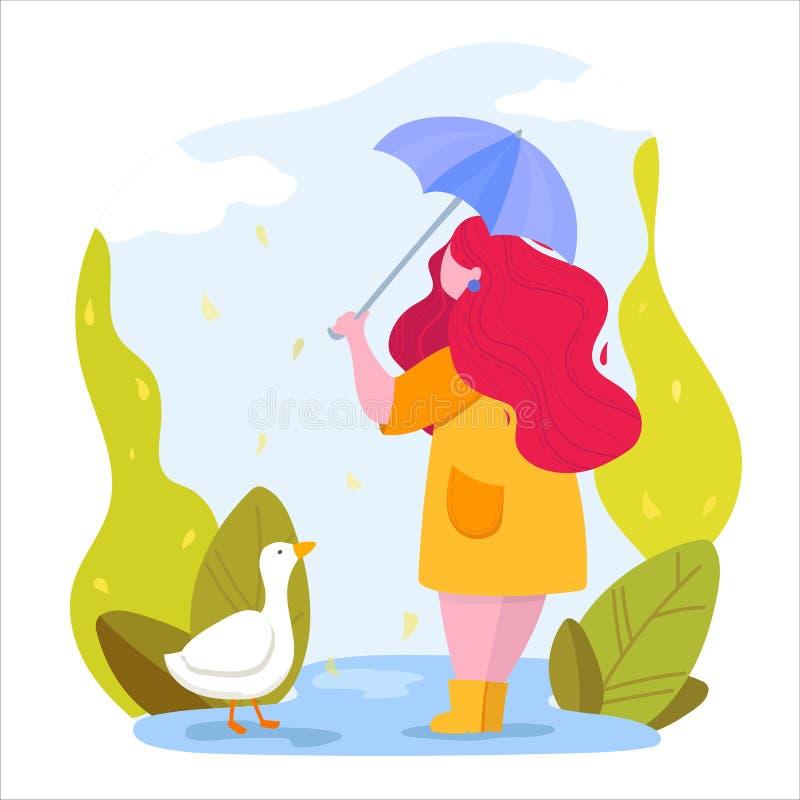Temporada de otoño. Mujer con paraguas en un parque stock de ilustración