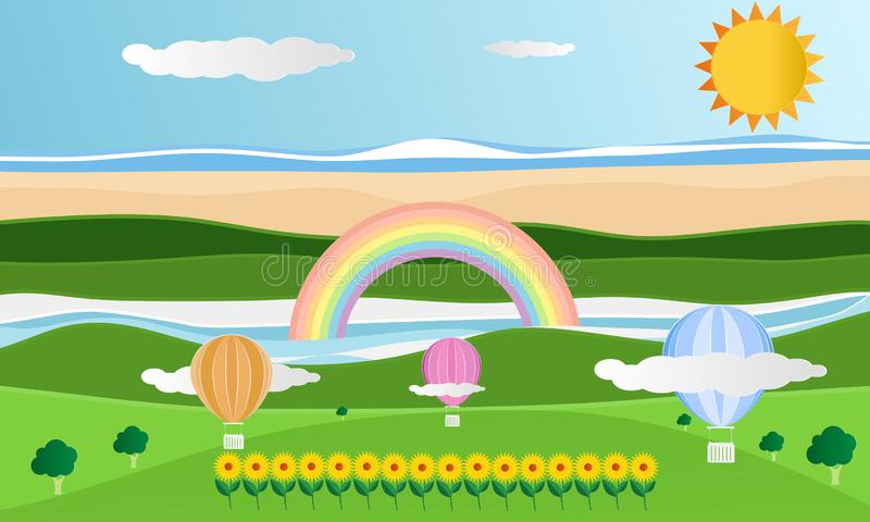Temporada de verão com os arcos-íris no fundo do céu azul e das nuvens Balões das flores da opinião do verde da natureza da paisa ilustração stock