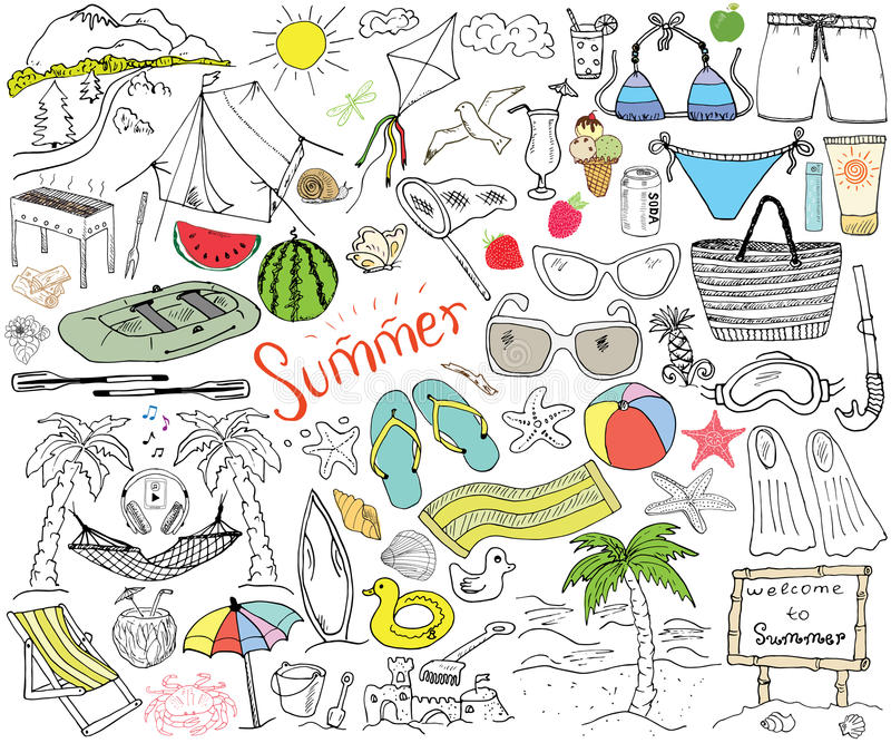 A temporada de verão rabisca elementos ilustração royalty free