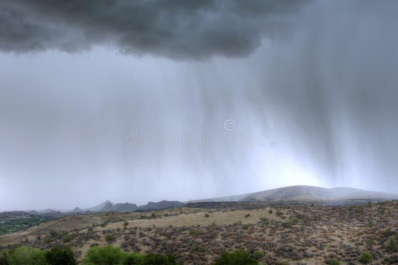 Temporale pesante di monsone di piovosità sopra il Prescott, Arizona fotografia stock libera da diritti