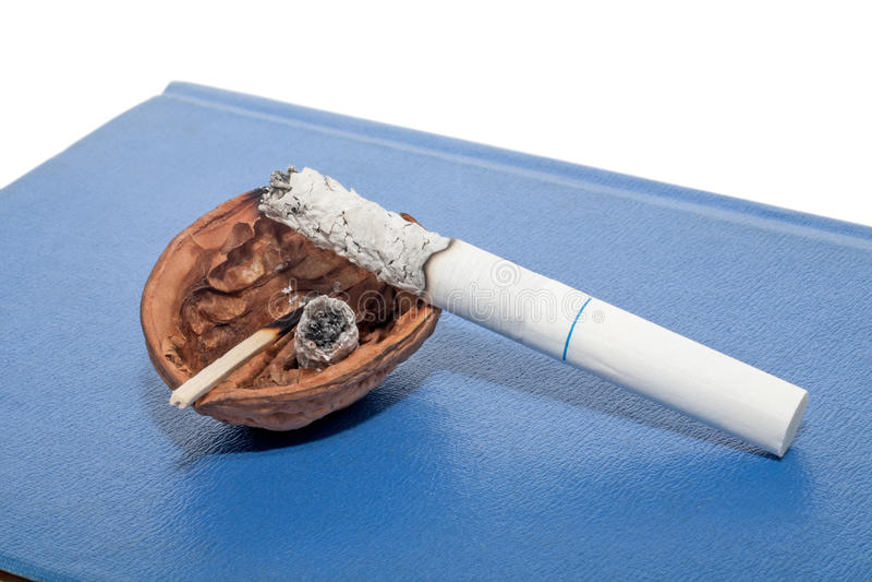 Temporary ashtray with cigarette royalty free stock photos