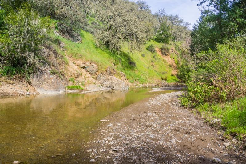 Temporary creek in Henry Coe State Park, Morgan Hill, California stock photo