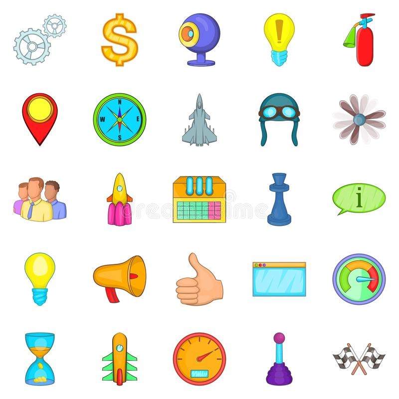 Temporary difficulty icons set, cartoon style. Temporary difficulty icons set. Cartoon set of 25 temporary difficulty vector icons for web isolated on white royalty free illustration