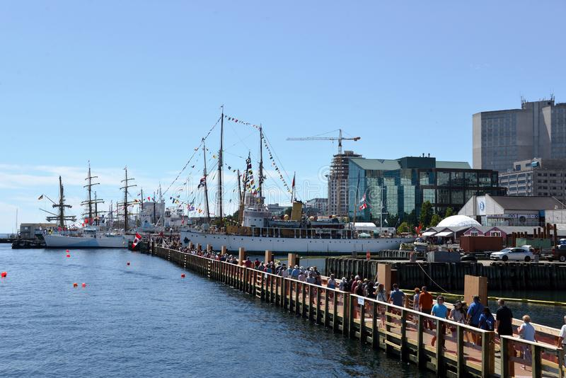 Temporary floating bridge in use at Halifax Tall Ships event stock photos