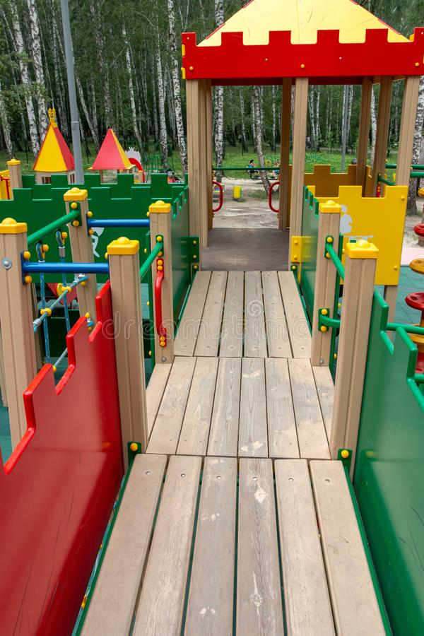 Multi-functional outdoor play area for children. Temporary multi-functional outdoor play area for children royalty free stock photos