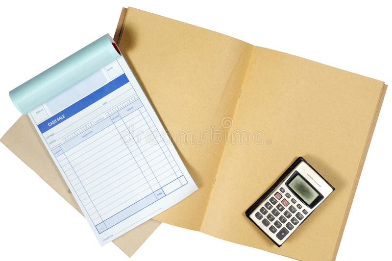 Temporary receipts and old calculator. Concept of financial smaller shops. royalty free stock photos