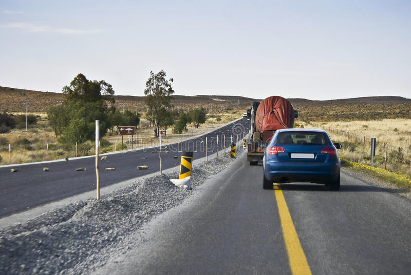 Temporary Road, Single Lane Traffic Royalty Free Stock Photography