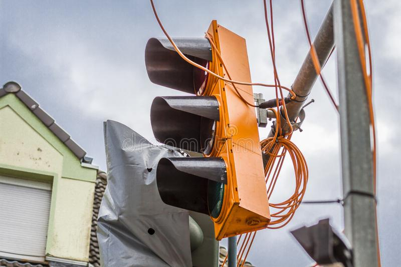 Temporary traffic lights destroyed by the storm Friederike at the street crossing Schonnebeckhoefe, Hallo street and. Saatbruch Street in the city of Essen stock photo
