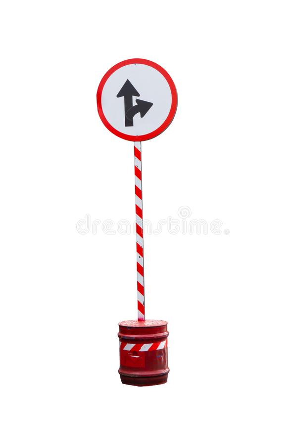 Temporary traffic signs for community use isolated on white background. Temporary traffic signs for community use isolated on white background with clipping royalty free stock photo