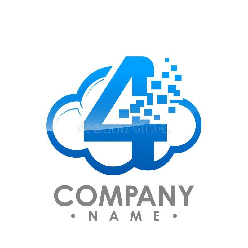 Temporeros abstractos creativos del diseño del logotipo del vector del número cuatro de la nube de los datos ilustración del vector