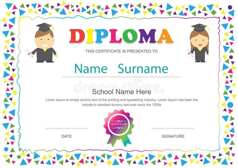 Temporeros del diseño de la escuela primaria del certificado del diploma de los niños del preescolar ilustración del vector