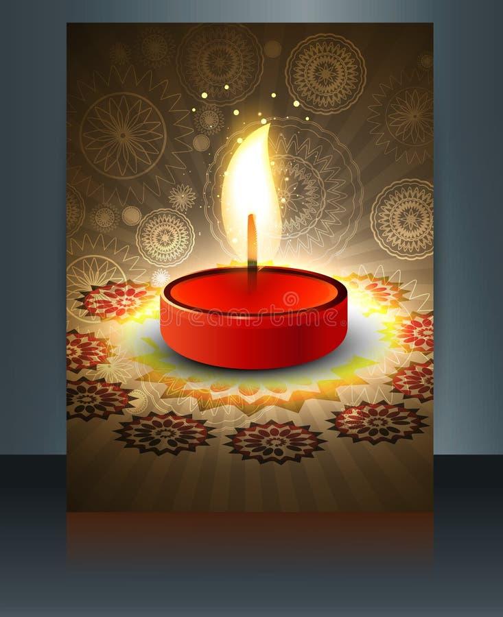 Temporeros hermosos del folleto de la tarjeta de felicitación del diwali libre illustration