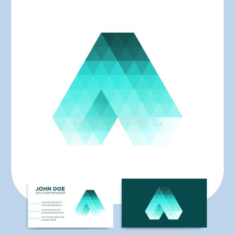 Temporeros poligonales del diseño del estilo del triángulo de la letra A del icono abstracto del logotipo stock de ilustración