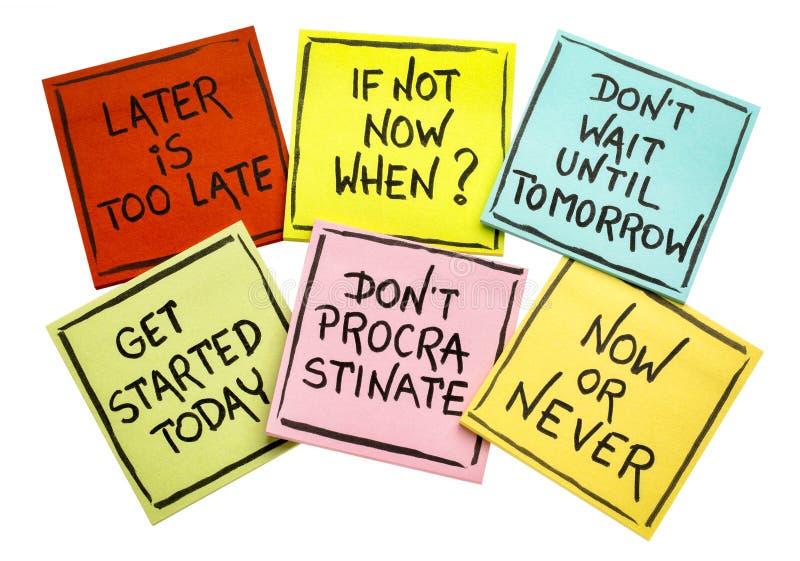 Temporisation de combat - ensemble de notes de motivation photo stock