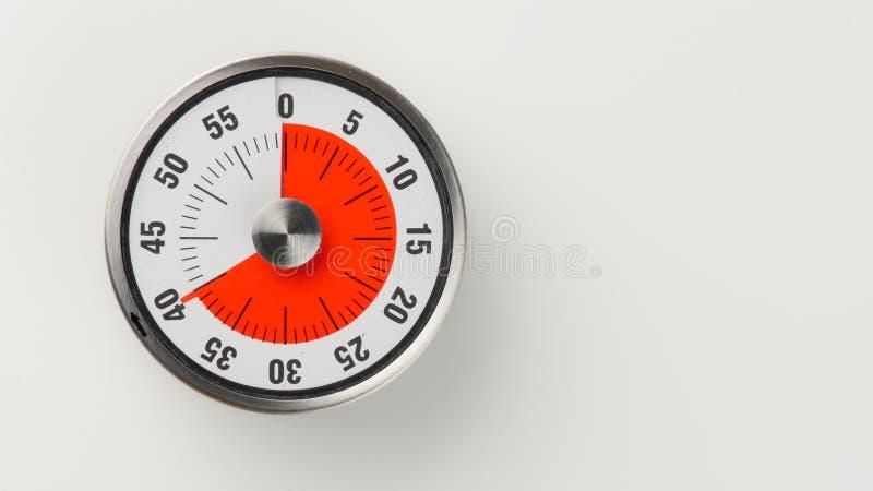 Temporizador análogo da contagem regressiva da cozinha do vintage, permanecer de 40 minutos foto de stock