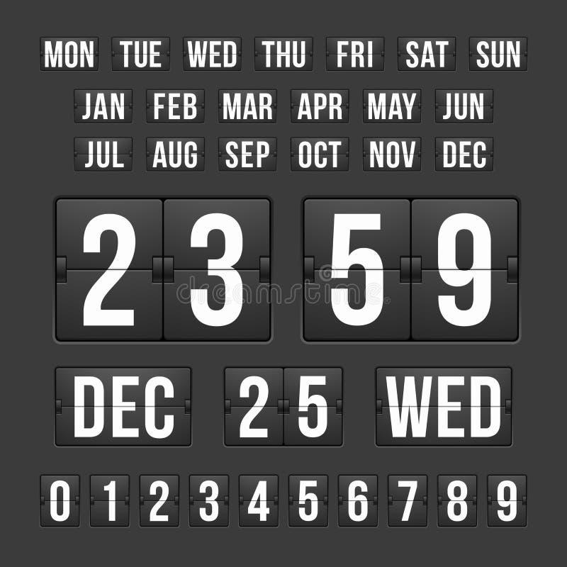 Temporizador da contagem regressiva e data, placar do calendário ilustração do vetor