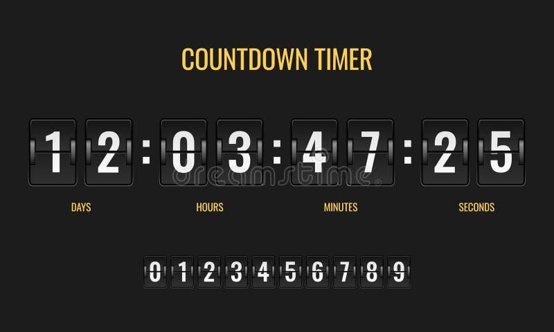 Temporizador da contagem regressiva Os mecânicos do relógio digital do placar do medidor opõem a informação abaixo do número que  ilustração do vetor