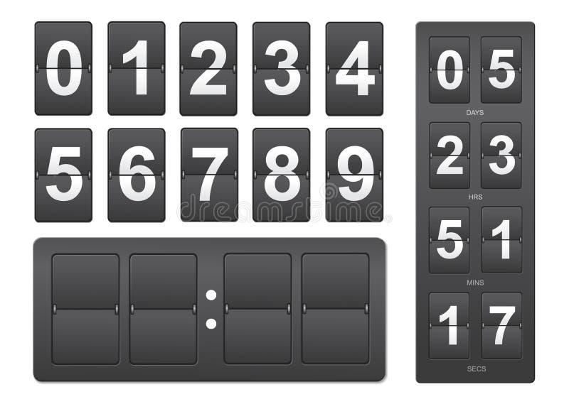 Temporizador de la cuenta descendiente El panel mecánico negro del marcador libre illustration