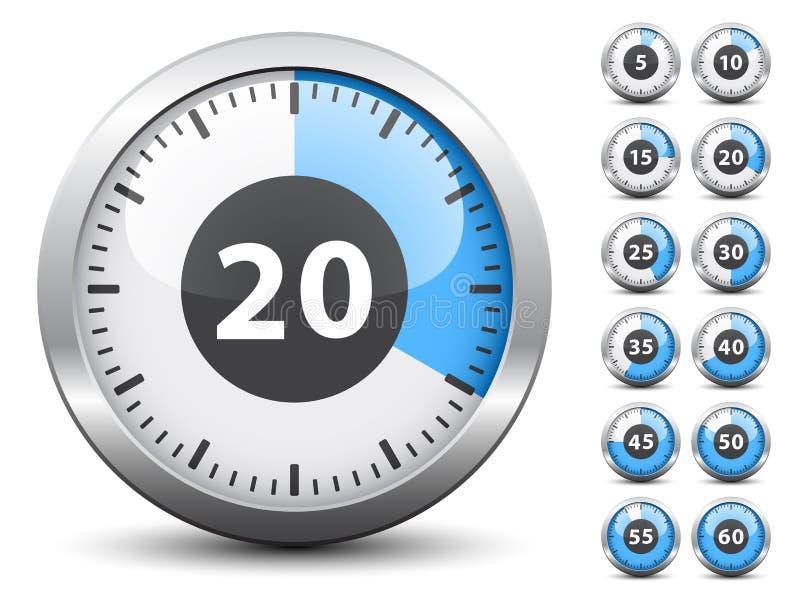 Temporizador - tempo fácil da mudança cada um minuto ilustração do vetor
