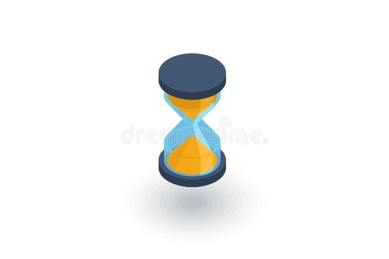 Temporizzatore, clessidra della sabbia, icona piana isometrica dell'orologio di vetro vettore 3d illustrazione di stock