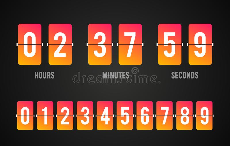 Temporizzatore del contatore di orologio di conto alla rovescia del bordo di vibrazione di vettore Tabellone segnapunti dell'ora, royalty illustrazione gratis