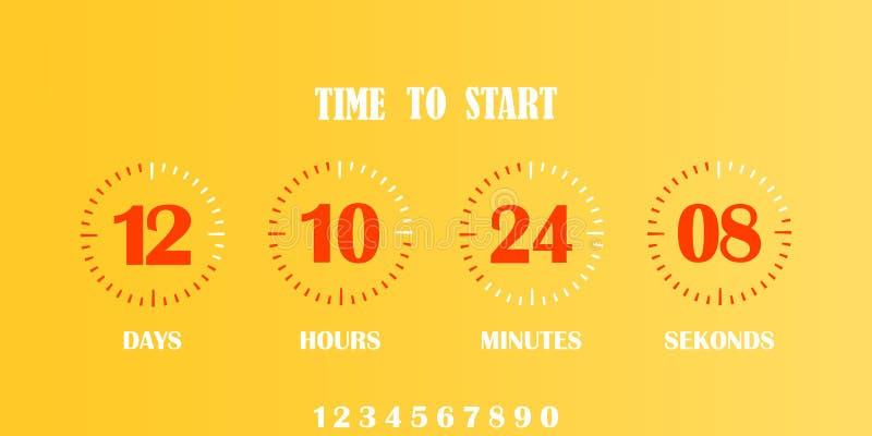 Temporizzatore del contatore di orologio di conto alla rovescia di vibrazione illustrazione di stock