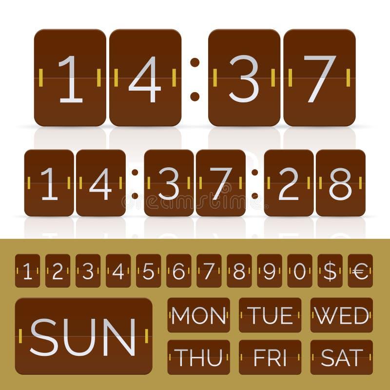Temporizzatore di conto alla rovescia di Brown e calendario di vibrazione di giorno di settimana royalty illustrazione gratis