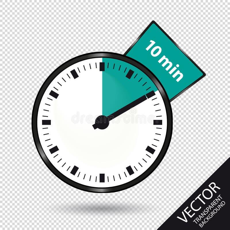 Temporizzatore 10 minuti - illustrazione di vettore - isolati su fondo trasparente illustrazione di stock