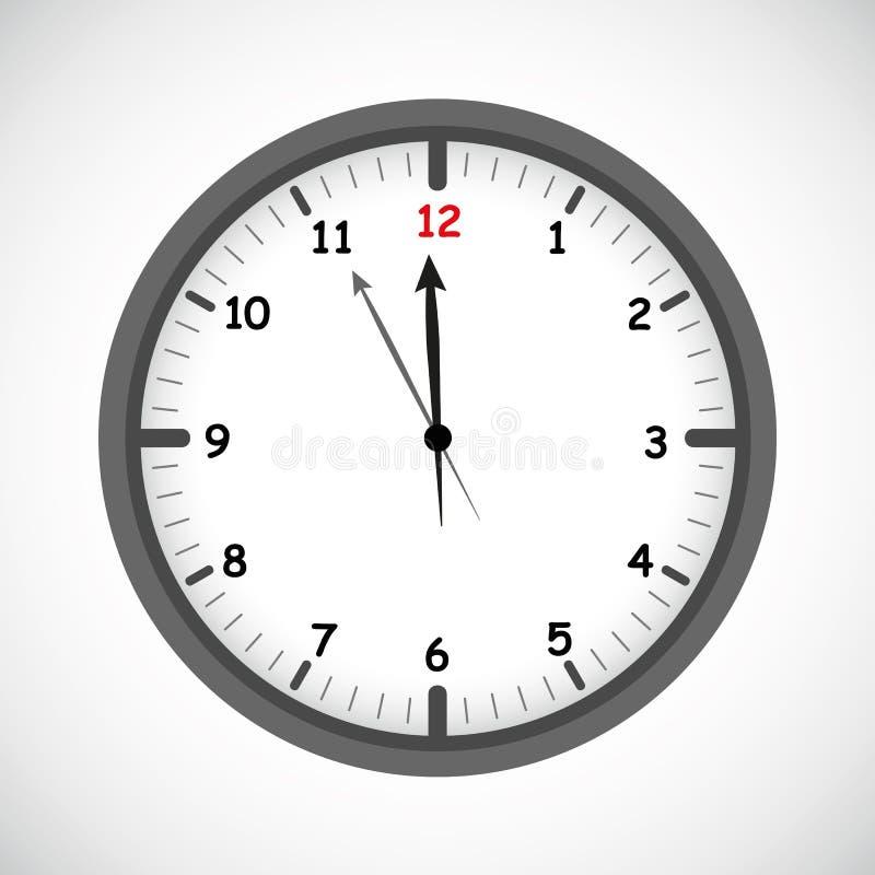 Temporizzatore rotondo quasi dodici dell'icona dell'orologio royalty illustrazione gratis