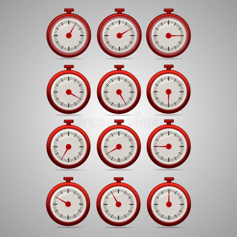 Temporizzatori realistici rossi, incrementi da 5 a 60 illustrazione vettoriale