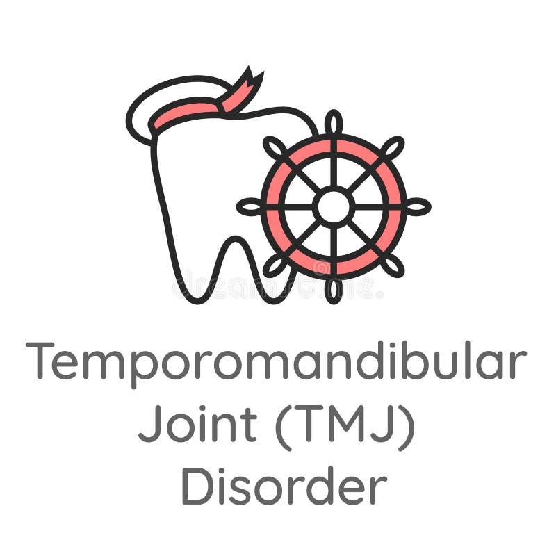 Temporomandibular ??czny nie?ad TMJ Z?b z statku ko?em Stomatologiczna ikona lub ilustracja royalty ilustracja
