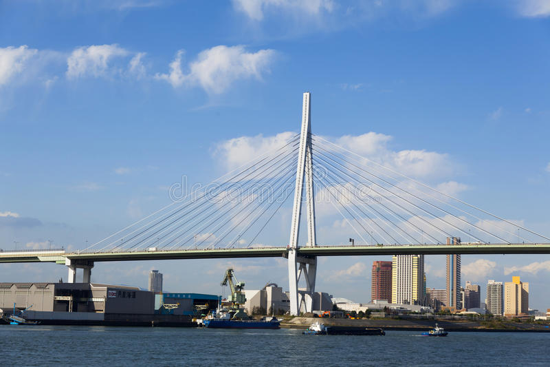 Tempozan Bridge. Osaka Tempozan Bridge in Japan stock photo