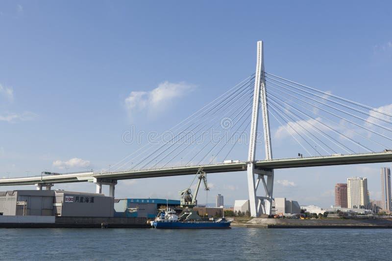 Tempozan Bridge. Osaka Tempozan Bridge in Japan royalty free stock photo