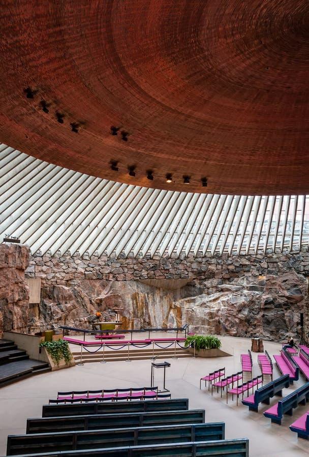 Temppeliaukionkerk in de rots in Helsinki royalty-vrije stock afbeeldingen