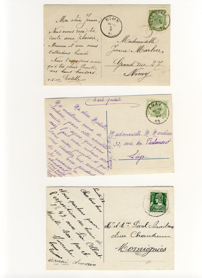 Temprano 900 postales escritas imagen de archivo