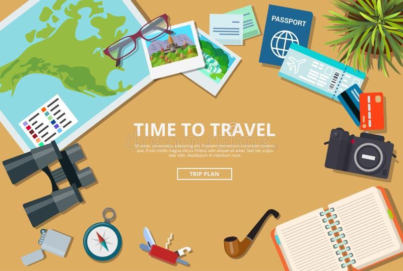 Temps à l'illustra de vecteur de brochure de Web d'agence de voyages illustration libre de droits