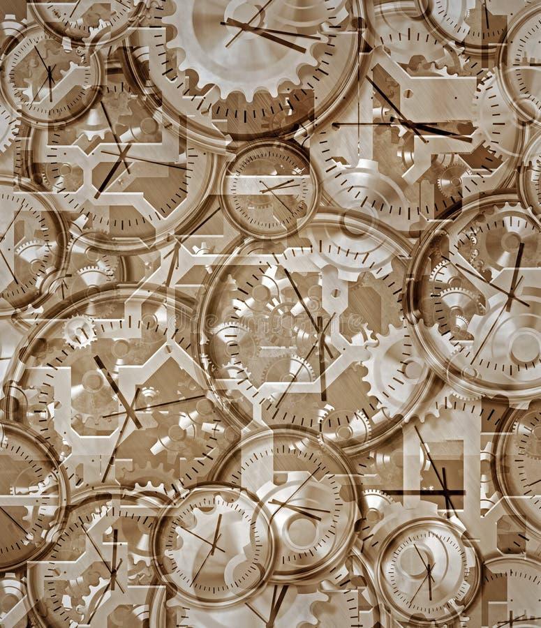 Temps allé par les horloges et le rouage d'horloge illustration libre de droits