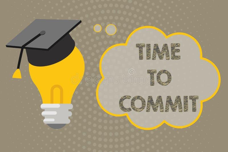 Temps d'écriture des textes d'écriture de commettre Engagement ou obligation de signification de concept qui limitent la liberté  illustration de vecteur